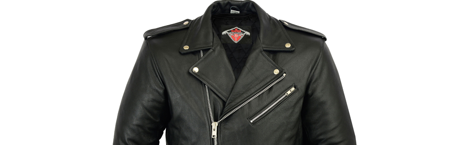 a10ce00f4 Mens Brando Style Motorcycle/Motorbike Cowhide Leather Jacket In ...