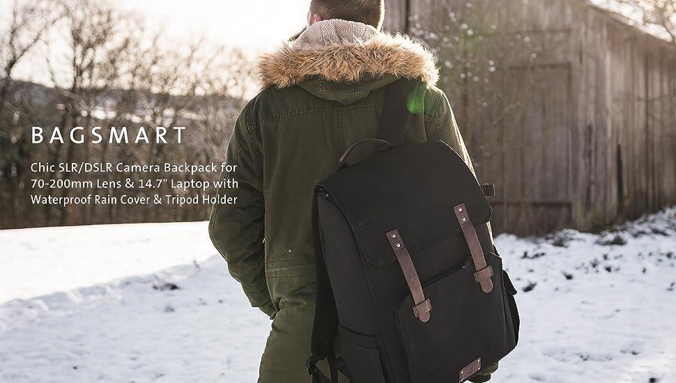 Dark Olive BAGSMART Large Camera Backpack SLR//DSLR Camera Bag for 70-200mm Lens /& 15.6 Laptop with Waterproof Rain Cover /& Tripod Holder