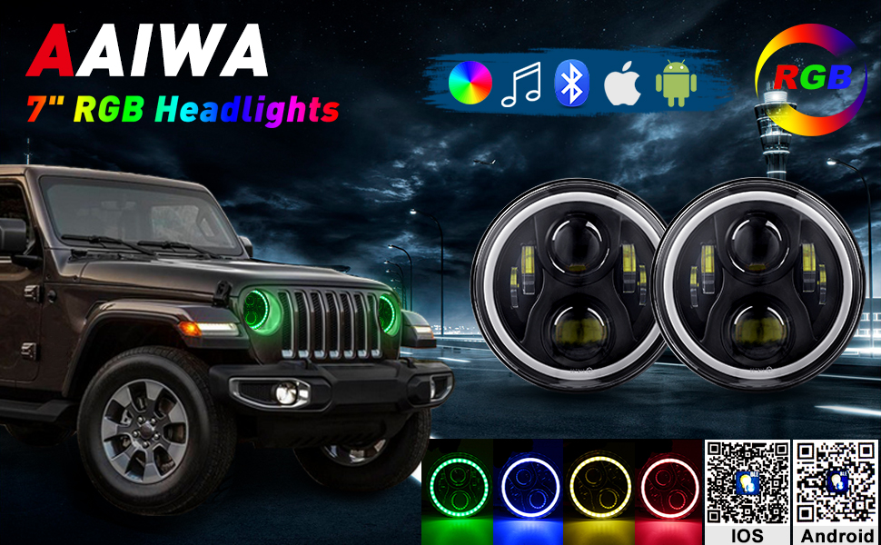 AAIWA 7 Inch RGB Round LED Headlight High Low Beam Motorcycle Driving Light with DRL Turn Signal Halo Ring Angle Eyes for Harley Wrangler JK TJ LJ CJ Pair