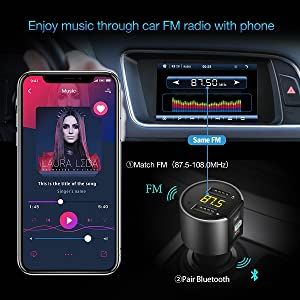 Bluetooth FM Transmitter Radio for Car ESOLOM in Car Bluetooth Adapter Radio Transmitter Receiver MP3 Player Hands Free Calling for Car Audio Stereo System w\ USB Car Charger FBA-LCFUS005-C26S