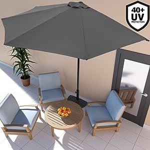 Adjustable Coupler Suitable Umbrella Rod: /Φ3.5cm Outsunny 10kg Cement Concrete Half Round Parasol Base Umbrella Stand Garden Outdoor Accessories /Φ3.8cm /Φ4.8cm