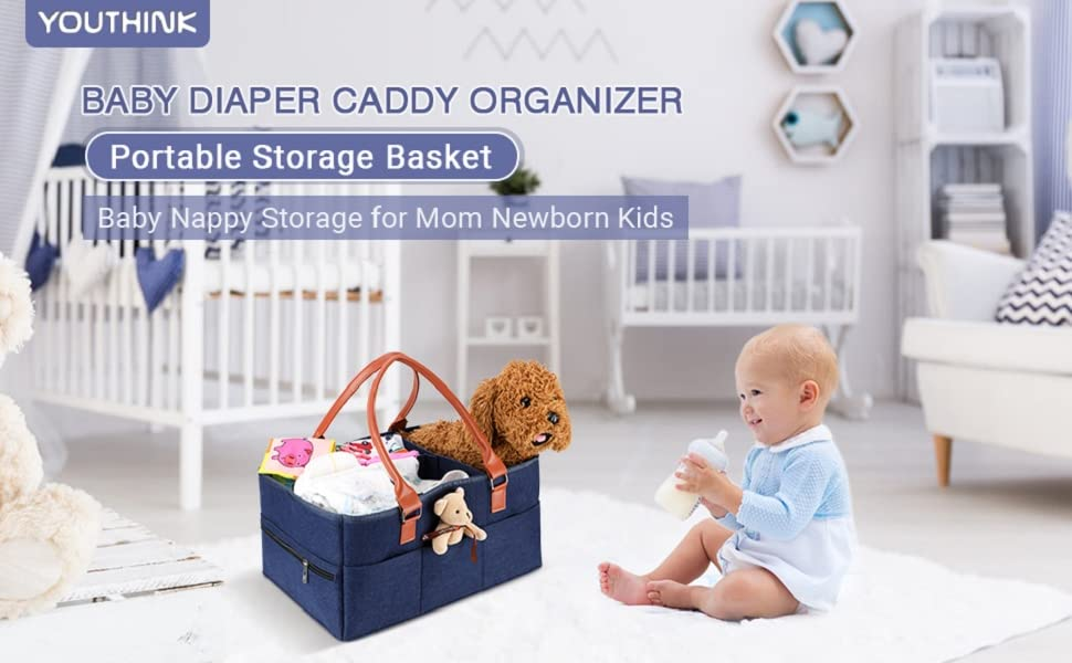 Navy Baby Diaper Caddy Organizer Large Portable Nappy Storage Basket Personality Detachable Divider for Diapers Baby Wipes /& Kid Toys Portable Car Travel Organizer Newborn Shower Gift Nappy Bags