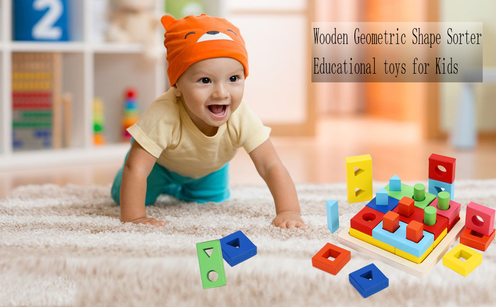 Joqutoys Wooden Shape Sorter Cube for Toddlers Geometric Shape Sorting Learning Sort and Match Developmental Toy for 1 2 3 Years Old Boys and Girls
