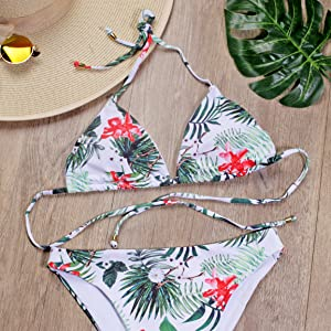 a187a17f01 Blooming Jelly Womens Floral Bikini Set Halter Slide Sexy Triangle ...
