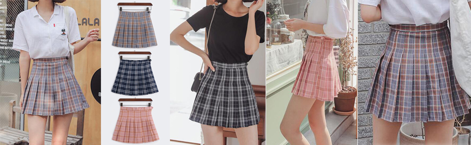 6e0bd47079 Smilice Women High-Waisted Pleated Mini Skirts with Soft Shorts ...
