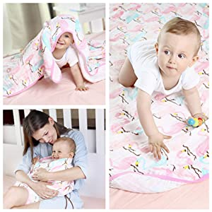 Wanshchan Large Muslin Cloths Baby Baby Blanket Pre-Washed Ultra Soft Breathable Swaddle Blankets,Shower Towel Bamboo Cotton Newborn up to 5 Years Girls 4 Layers Toddler Muslin Blanket