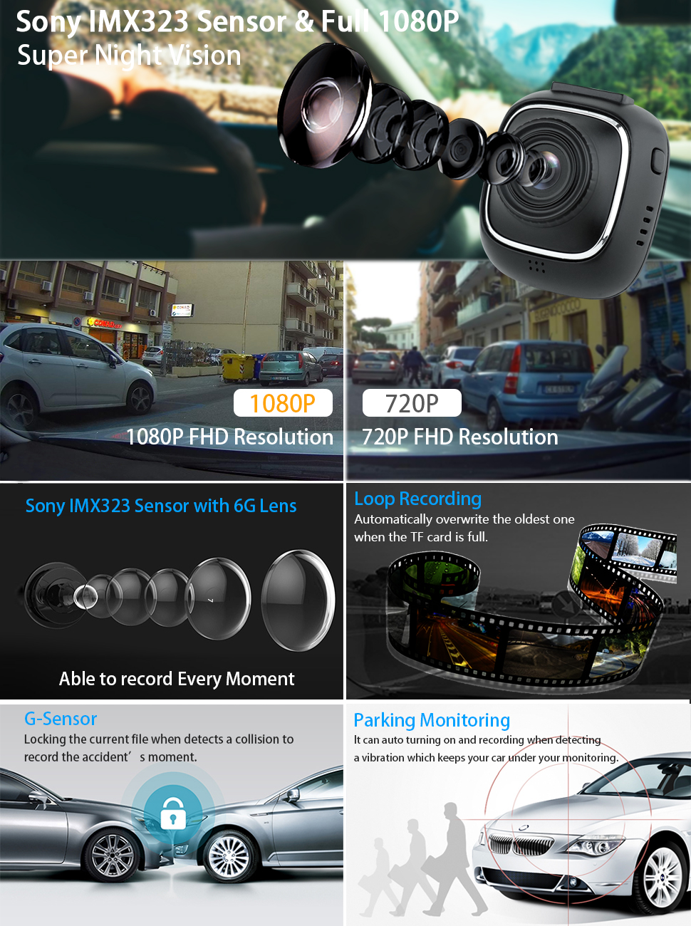 supereye dash cam car cameras with recorder 1080p. Black Bedroom Furniture Sets. Home Design Ideas