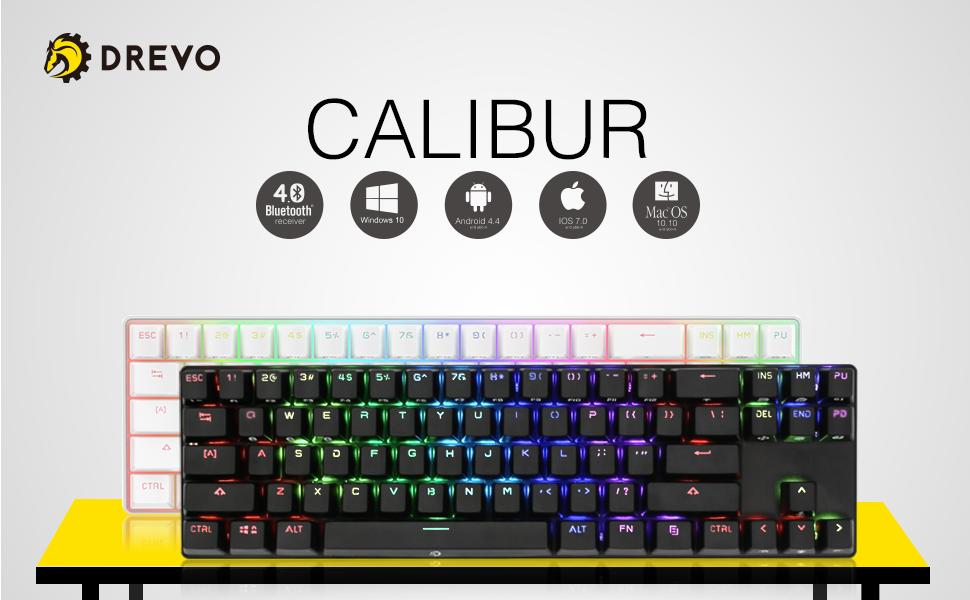 DREVO Calibur Teclado mecánico Inalámbrico Bluetooth 4.0 71 teclas retroiluminado RGB US Layout (Switch Azul, Negro)