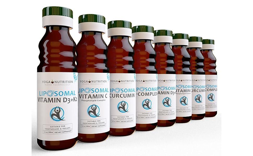 8 bottles liposomal vitamin c b complex curcumin d3 k2
