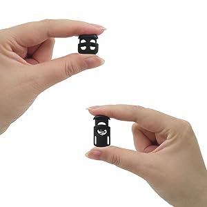 SourceTon - Juego de 20 cerraduras elásticas de nailon para cordón elástico con cordón elástico de 1,27 cm, 50 m de longitud, 10 orificios ...