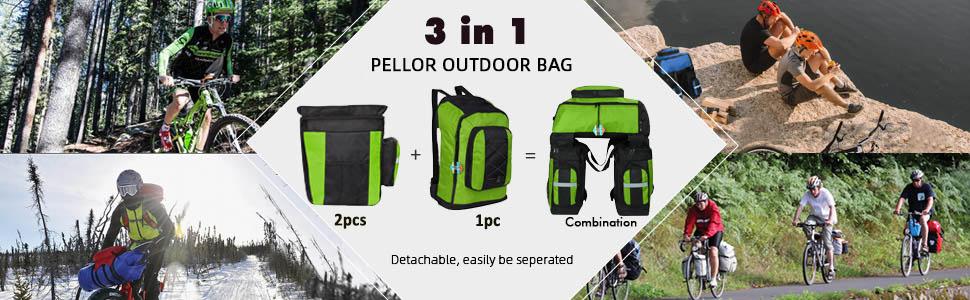 Wildken Bike Bag 3 in 1 Waterproof Bicycle Pannier Bag 75L Cycling Travel Rack Bags with Rain Cover