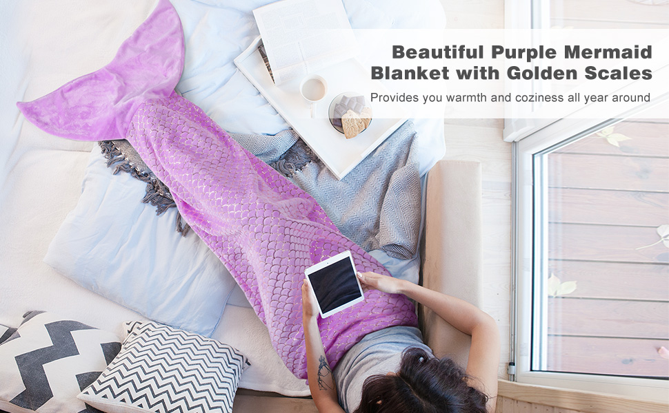 Mermaid Tail Blanket Warm Fluffy Flannel with Beautiful Glossy Children /& Adults