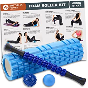 Easthills Fitness Foam Roller Kit Recovery Muscle Bundle Set 7-Rollers Muscle Roller Stick 18 Inch EVA Long Size Foam Roller Massage Ball and Zipper Carry Bag