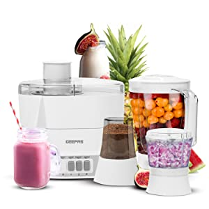 Geepas 4 in 1 Food Processor & Juicer | Multifunctional Smoothie Maker, Juicer, Compact Electric Blender, Chopper & Grinder | 1.5L Jug, 2 Speed Pulse