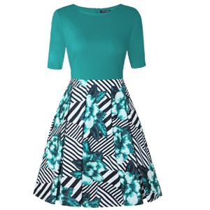 Half Sleeve Casual Rockabilly Dress