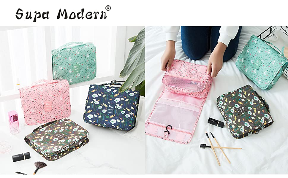 1744e6c985 SUPA MODERN Womens Travel Toiletry Bag Overnight Wash Gym Shaving Bag  Travel Folding Make up Bags with Hook Organizer Bags Cosmetic Bags Travel  ...