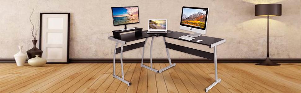 Computer Desk Dosleeps L Shaped Large Corner Pc Laptop