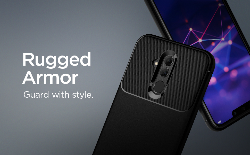 buy popular 6786e a7c6f Spigen [Rugged Armor] Case Compatible for Huawei Mate 20 Lite, Original  Patent Black Carbon Fiber Design Flexible Slim TPU Phone Cover for Huawei  Mate ...