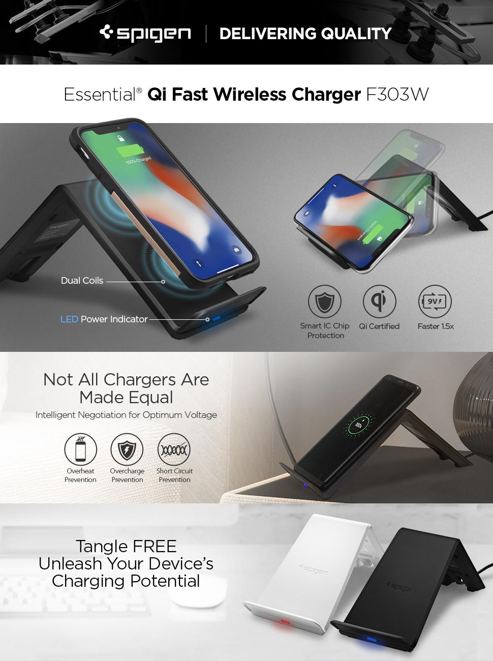 wholesale dealer 26a32 76661 Spigen Essential F303W Fast Wireless Charger [Qi Certified 10W][Intelligent  Power Technology] Rapid Dual Coils for Portrait & Landscape Mode for ...