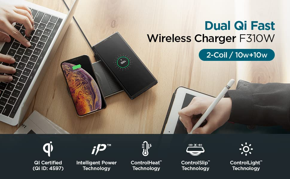 for iPhone Xs MAX//XR//XS//X//8//8 Plus//Galaxy Note 9//S9//S9 Plus//S8 /& Other Qi Enabled Devices Adapter NOT Included Spigen Essential F301W Qi Wireless Charger