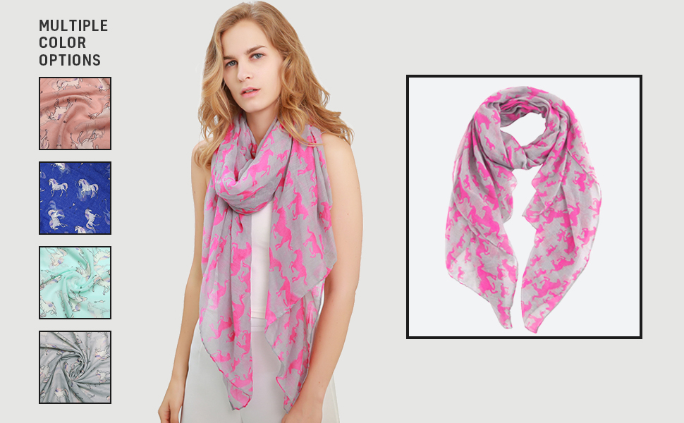 Ladies Metalic Rose gold Unicorn Print Summer Soft  Scarf Wrap Gift 6 colours