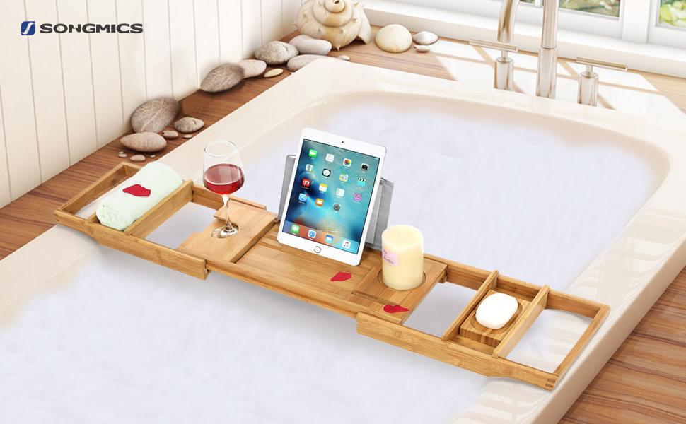 SONGMICS Extendable Bamboo Bath Tray, Bath Caddy Bridge, Bath Stand ...