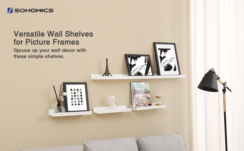 SONGMICS Wall Shelf 3 Set Floating Shelves Ledge for Picture Frames ...