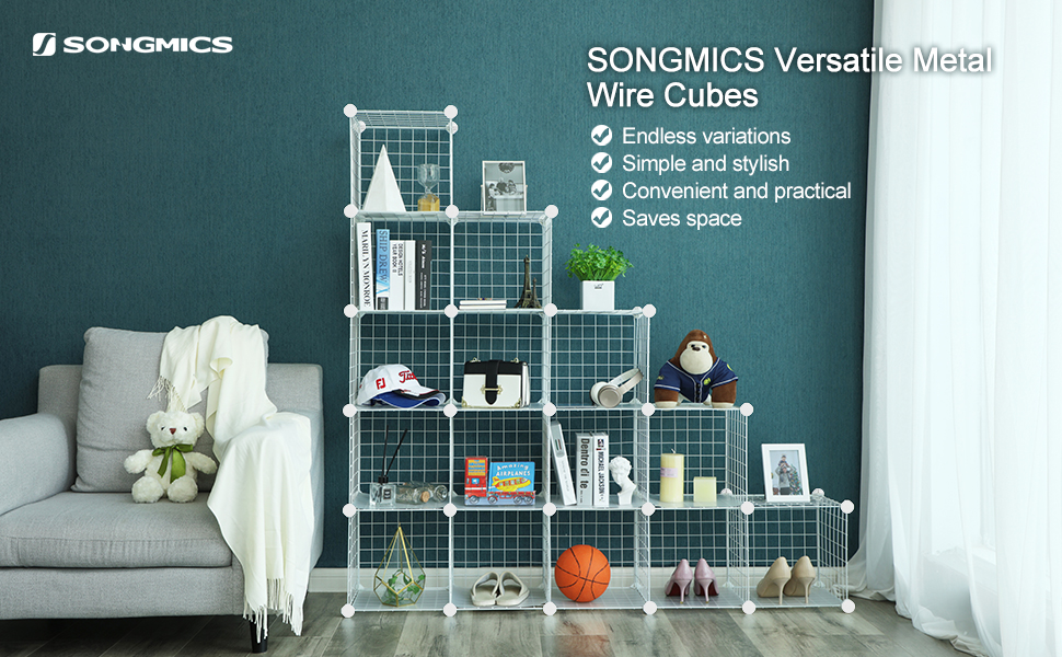 SONGMICS 16 Cube Metal Wire Storage Organiser, DIY Closet Cabinet ...