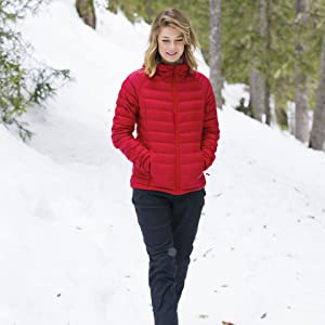 00d20c6b1 Mountain Warehouse Horizon Womens Hydrophobic Down Jacket with Hood - Water  Resistant Ladies Jacket, Ripstop Winter Coat - Ideal for Camping in Cold ...