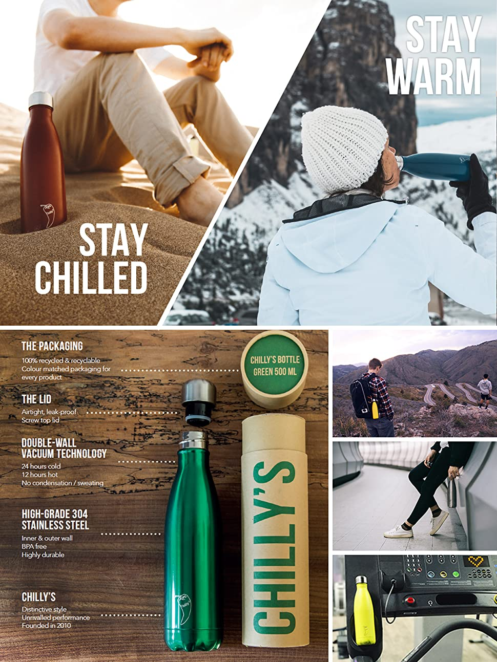 Chilly S Bottles Bpa Free Stainless Steel Reusable Water