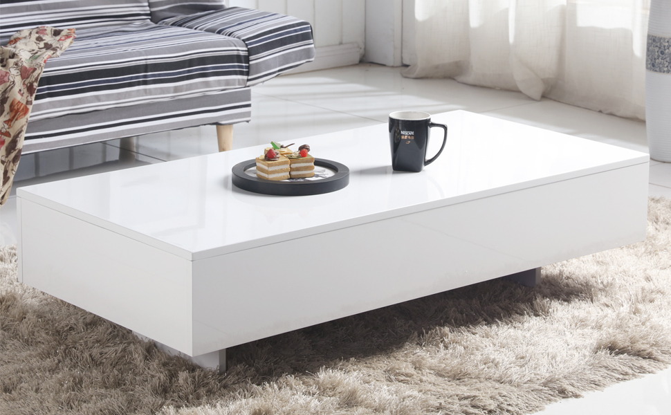 Goldfan Modern Rectangle Coffee Table White High Gloss Coffee