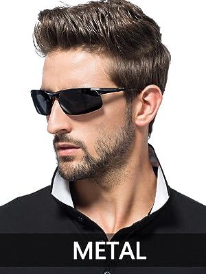 0a3f8099be SIPLION Men s Driving Polarized Sport Sunglasses Al-Mg Metal Frame Ultra  Light