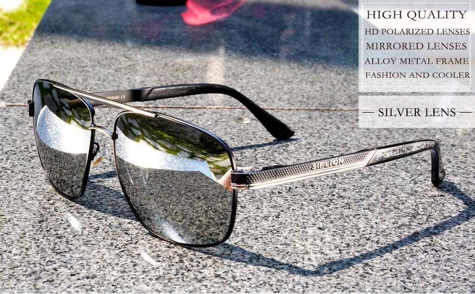 502edf0927275 SIPLION Men s Driving Polarized Rectangular Square Sunglasses Metal ...