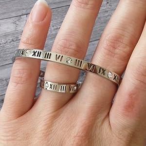 f76487b4c9a61 Silver Titanium Steel Love Roman Numerals Ring with Austrian Crystals