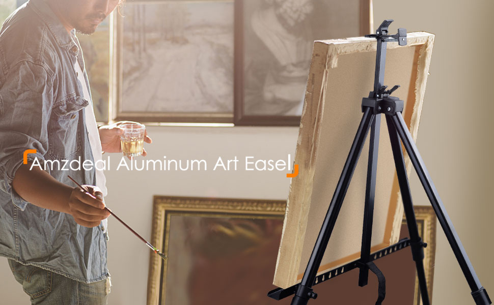 Durable Alloy Artist Easel Stand with Two Board Clips Lightweight Easel Stand with Carrying Bag Sturdy Adjustable Height Easel Tripod Stand from 20to 61 Multipurpose Display Stand for Floor//Table-Top Drawing and Displaying