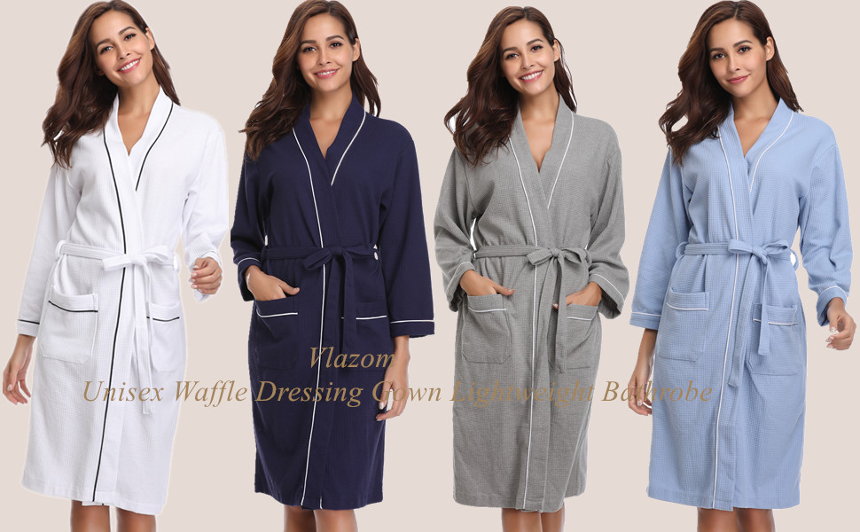 Vlazom Unisex Waffle Dressing Gown Pure Cotton Lightweight Bath Robe