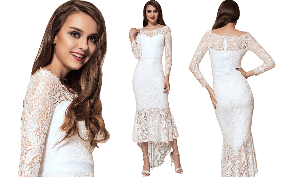 Ladies Delicate Lace Mermaid Evening Dress with Sleeve Maxi Dress