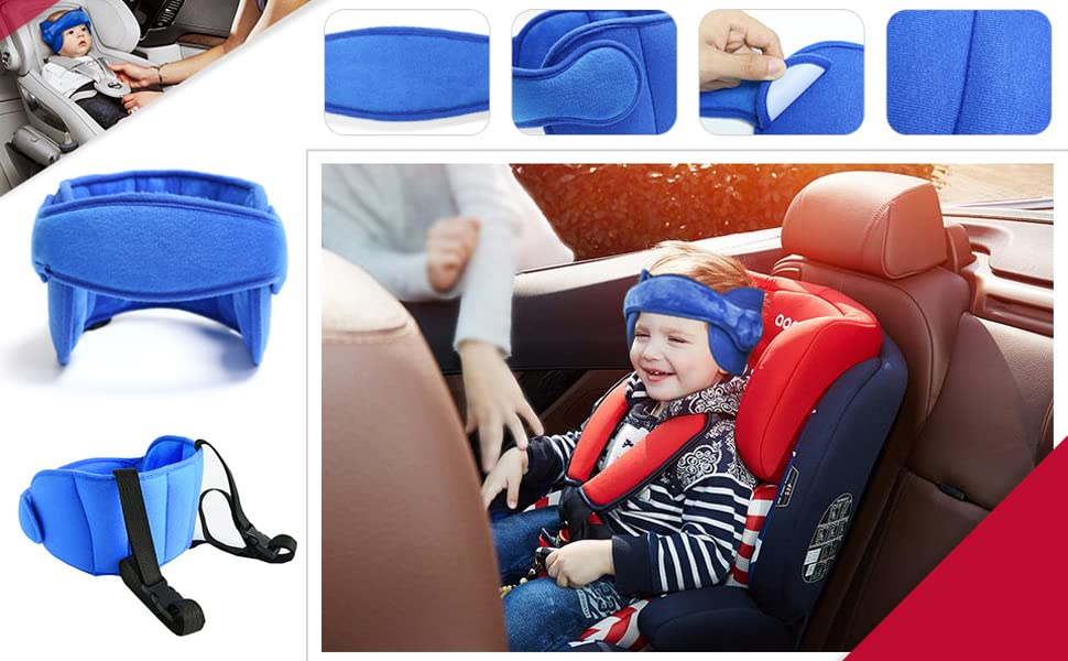 blue ALINICE Adjustable Toddler Car Seat Head Support Band Safety Car Seat Neck Relief Carseat Straps Cover