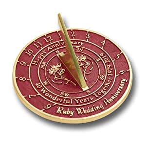 40th Wedding Anniversary Gift.The Metal Foundry 40th Ruby Wedding Anniversary 2019 Sundial Gift Idea Is A Great Present For Him For Her Or For A Couple To Celebrate 40 Years Of