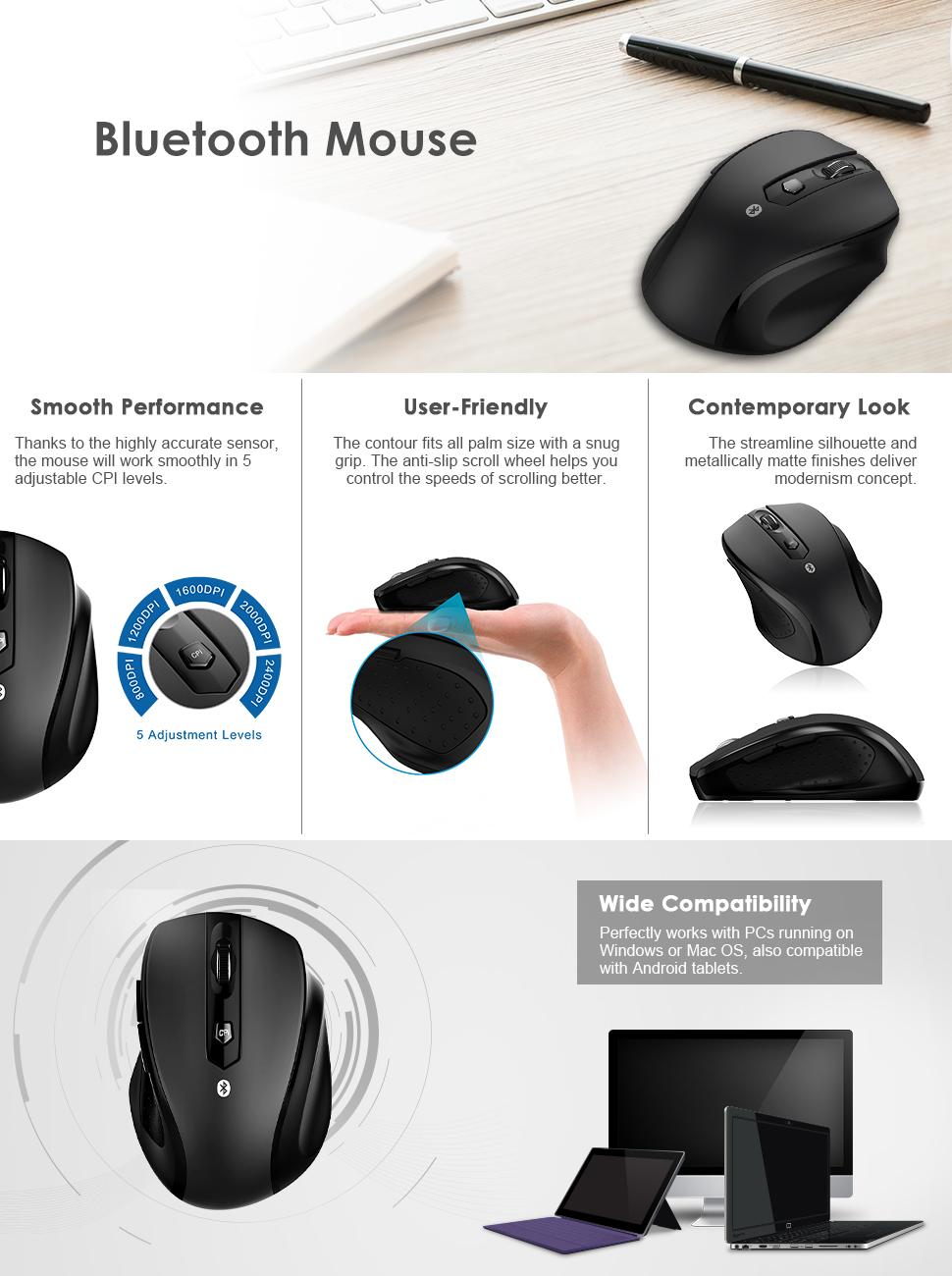 jetech m0884 bluetooth wireless mouse instructions