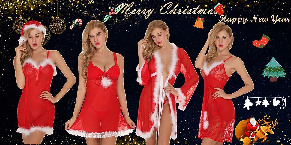 2e553ce84e9c7 Aibrou Womens Christmas Outfit Lingerie Set Babydoll Red Sleepwear ...