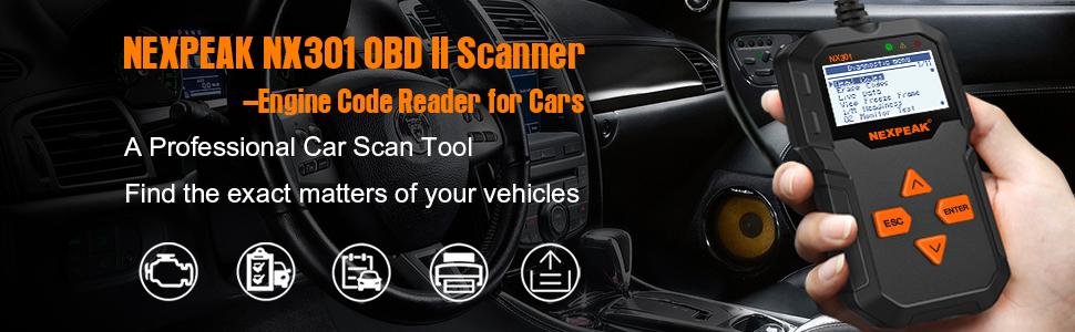 NEXPEAK OBD2 Reader NX301 Universal OBDII Car Diagnostic