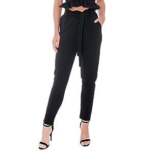 black paperbag trousers pants
