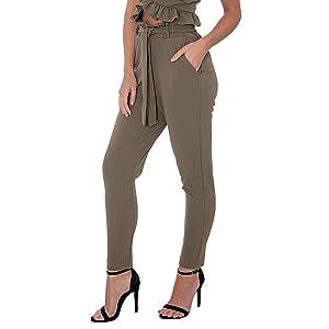 khaki paperbag trousers pants