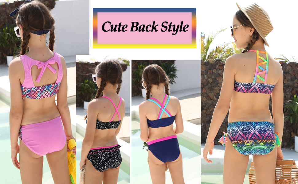 DAYU Girls Swimsuit Children's Neon Lights Print Bikini Swimwear Girls Bikini Age 6 14