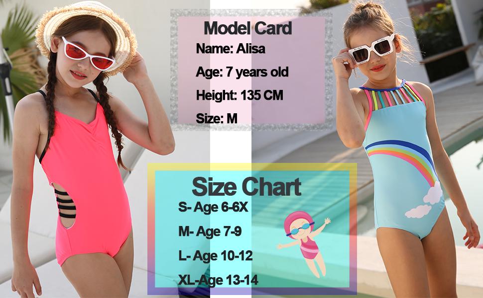 DAYU Girls One Piece Swimwear Swimsuit RainbowColorful