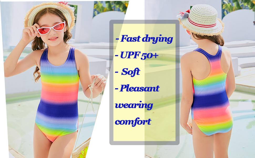 DAYU Girls Sports Swimsuit Rainbow Stripe Girls Swimwear Kids Swim Suit 4 14 Years Old