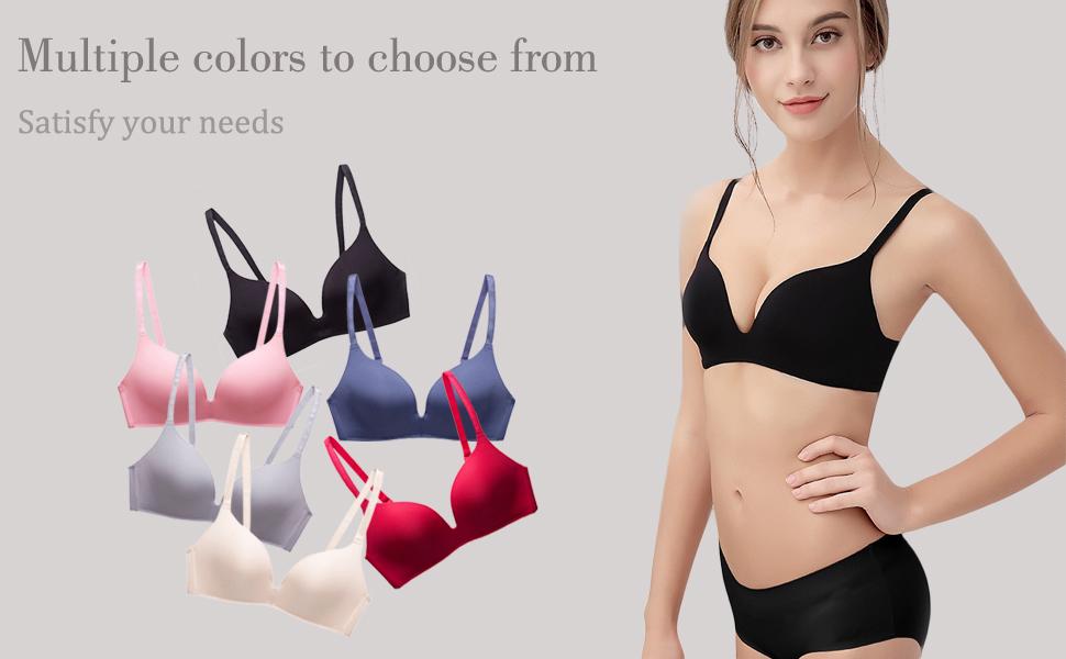 1042e5e369 Women Bra Rimless Push up Bra One-Piece Adjustable Strap Underwear ...