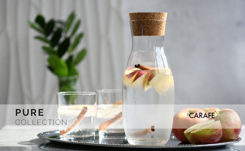 Water Drinking Carafe with Cork Glass