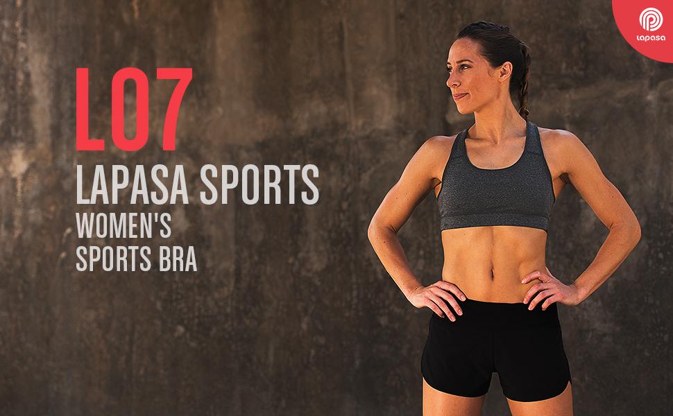 50fc526017 LAPASA Women s Sports Bra - Medium Impact - Double-Layer Wire Free ...